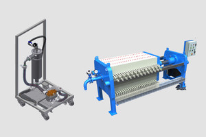Mobile, flexible, filter trolley, filter press, filter station